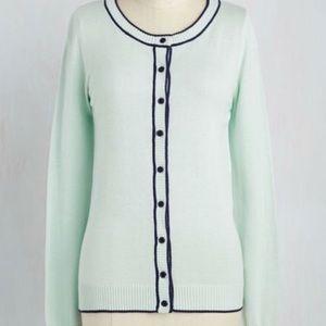 ModCloth Mint & Navy Long Sleeve Cardigan